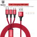 Baseus 3in1 de carregamento cabo usb para iphone/samsung/xiaomi/meizu/huawei cabo para relâmpago apple/usb tipo c/android micro usb