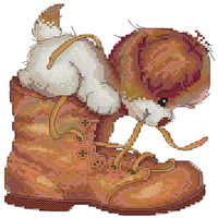 Puppy Tie Shoes Cartoon Counted Kit Stamped Cross Stitch Kit
