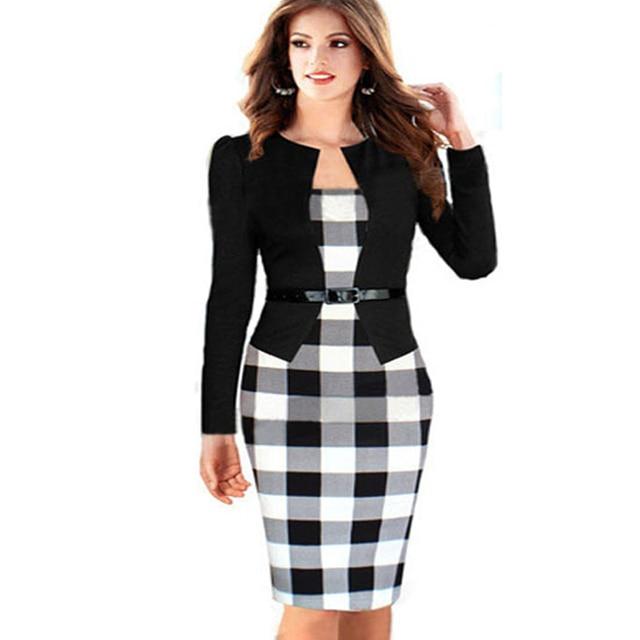 Aamikast Fashion Plaid Patchwork Women Dresses Winter Elegant Sashes Full Sleeve  Vintage Party Office Bodycon Vestidos 66ea641f9c30