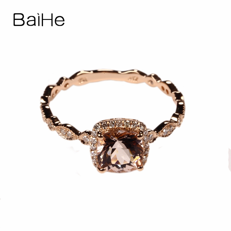 BAIHE 6mm cojín MORGANITE PAVE DIAMONDS sólido 10 K oro rosa compromiso boda anillo Filgree Art Deco antiguo moda regalo anillo