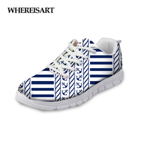 WHEREISART Woman Anchor Design Shoes Spring Sneakers Lightweight Female Flats Walking Girls Chaussures Femme Sapato Feminino