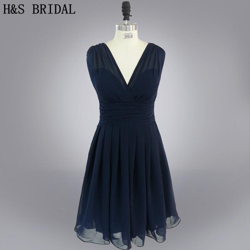 Real Model V Neck Pleated Backless Tank short navy blue chiffon short   bridesmaid     dress   2015