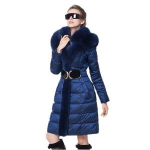Image 3 - AYUNSUE moda zimowe ocieplane kurtki kobiety kołnierz z futra lisa szczupła ciepła puchowa kurtka kobiet długa Parka panie elegancka odzież wierzchnia z kapturem 754