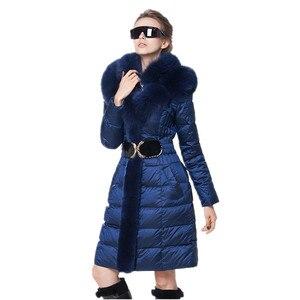 Image 3 - AYUNSUE модная зимняя женская куртка с воротником из лисьего меха, тонкое теплое пуховое пальто, женская длинная парка, женская элегантная верхняя одежда с капюшоном 754
