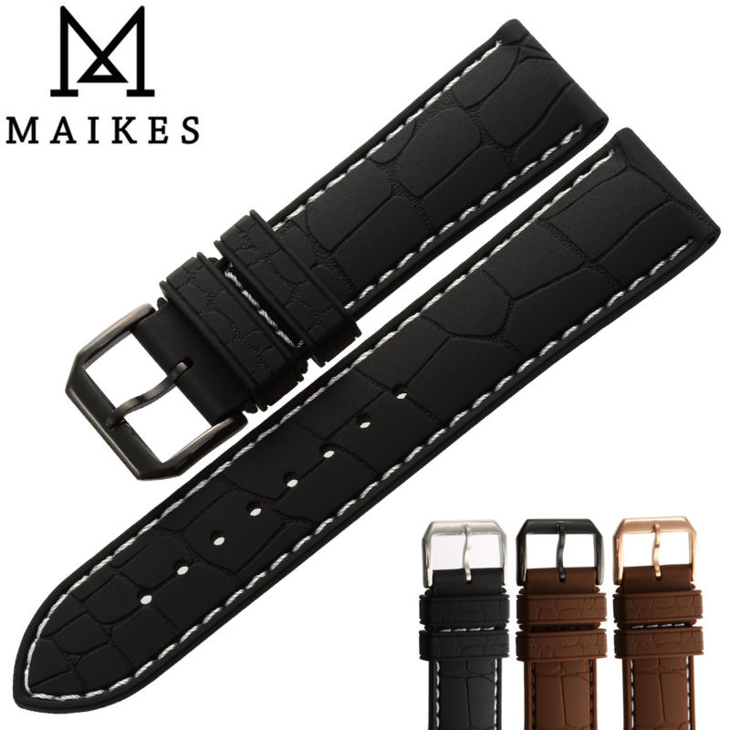 MAIKES New Arrival Black Silicone Band 20mm 22mm Watch Accessories Rubber Watchband Men Stainless Steel Buckle Watch Strap maikes new product durable genuine leather watch band 19mm 20mm 22mm black casual watch strap stainless steel buckle for tissot