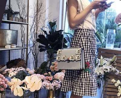 Merek Mewah Merek Kulit Rivet Wanita Totes Messenger Tas Tas Tangan Fashion Desainer Terkenal Bahu Rantai Bunga Tas Selempang