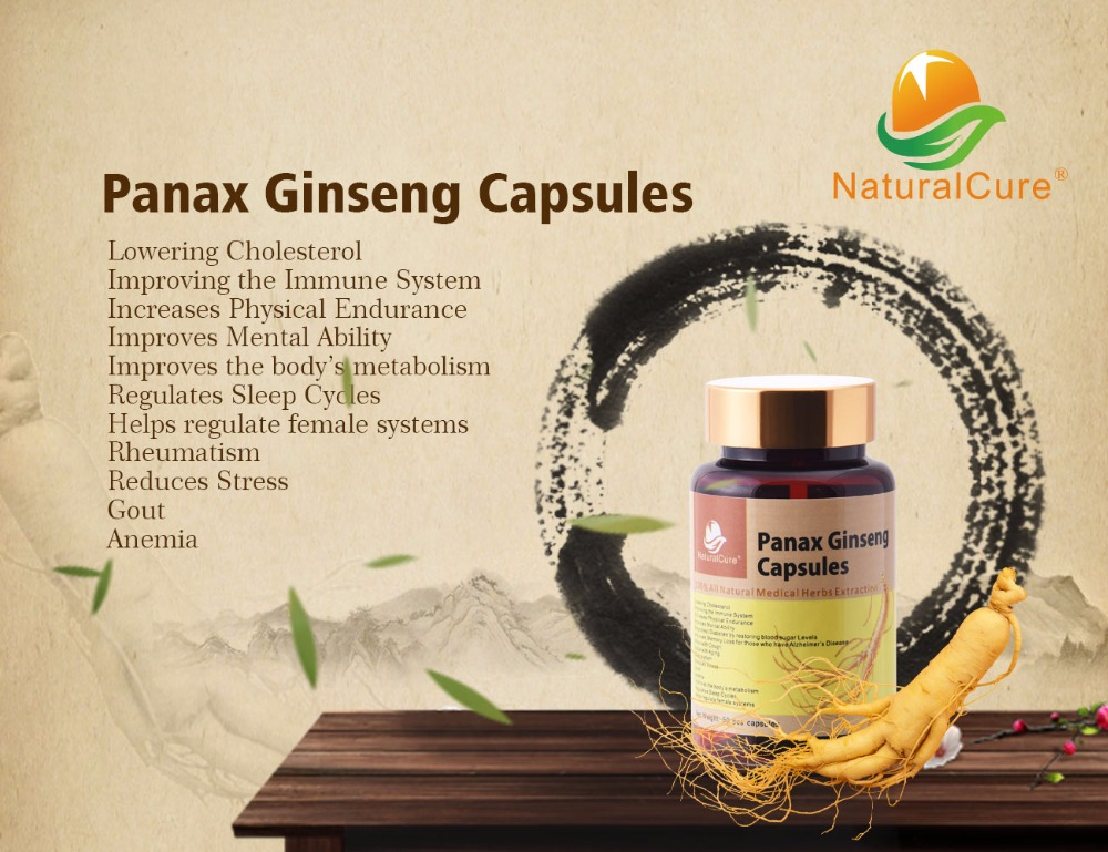 NaturalCure Panax Ginseng Capsule, 100% Natural Wild Ginseng Extract Powder, Tonify Body Organs, Improve Immune System 1