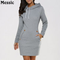 Messic Autumn Winter Warm Long Hooded Sweatshirt Women 2018 Bodycon Casual Sweat Femme Long Sleeve Tunic