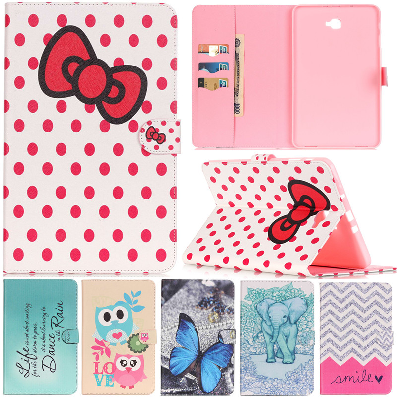 Cute Cartoon Butterfly Elephant Bow Leather Flip Fundas Case For Samsung Galaxy Tab A A6 10.1 2016 T585 T580 T580N Tablet Cover