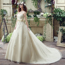 Elegant Ball Gown Sweetheart Bow Applique Lace Wedding Dresses 2017 Formal Women Long Bridal Gowns robe de mariee Custom Made