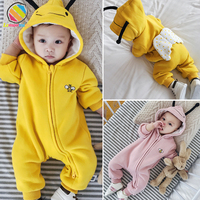 Lemonmiyu Baby Quilted Winter Rompers Cartoon Solid Cotton Full Zipper Hooded Newborn Animal Jumpsuits Infants Cute Bee Outwear
