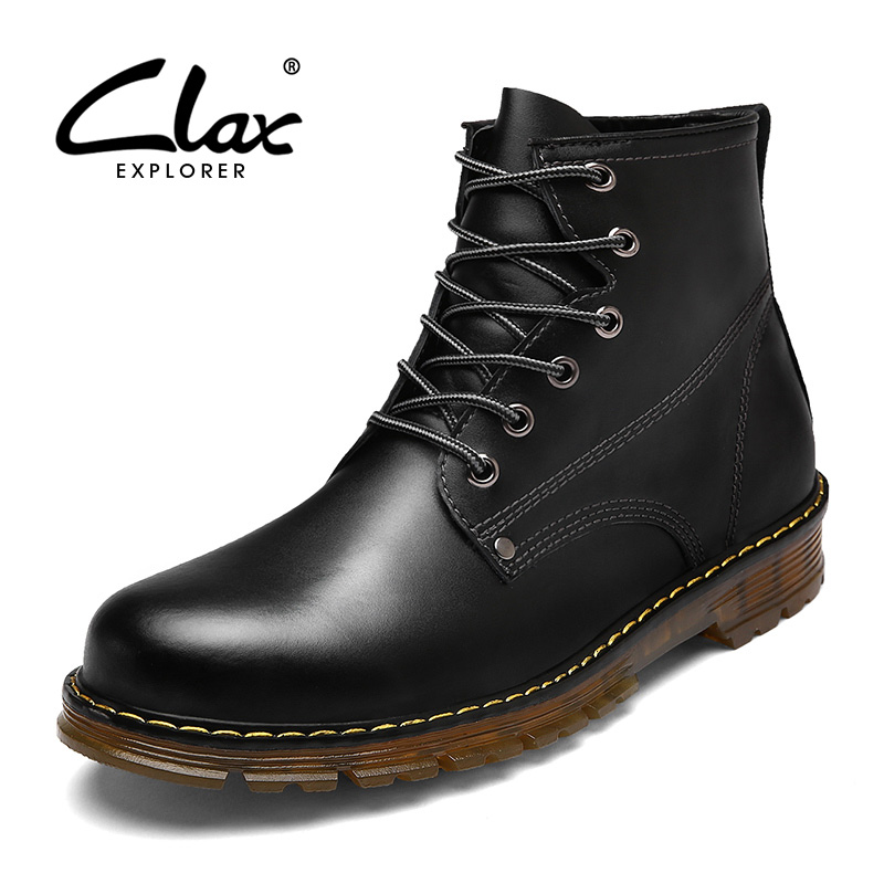 CLAX Men Motorcycle Boots 2017 Autumn Winter Men's Leather Shoes High Top Martin Boot British  Casual Footwear Designer