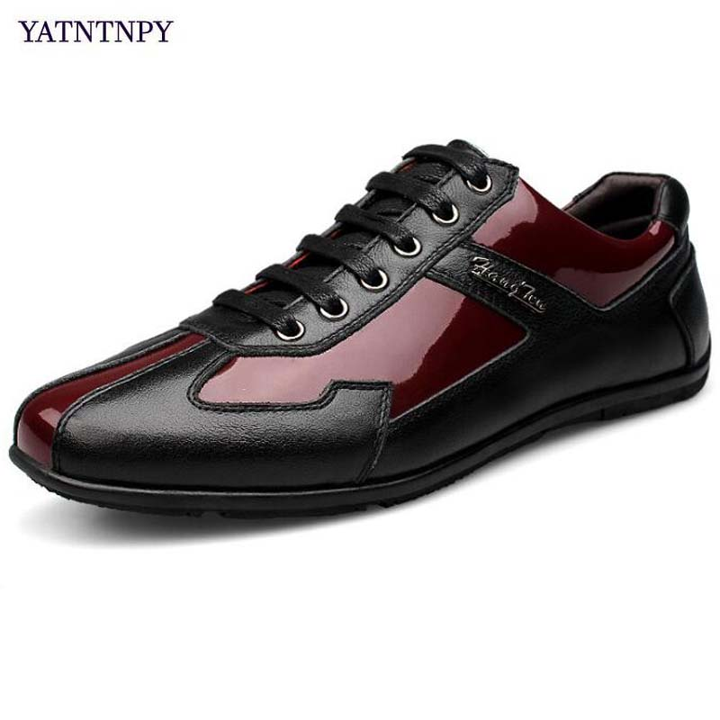 YATNTNPY Casual Men Shoes Genuine leather shoes Man sneakers, High Quality Flat pant shoes Plus Small/Big Size Man moccasins