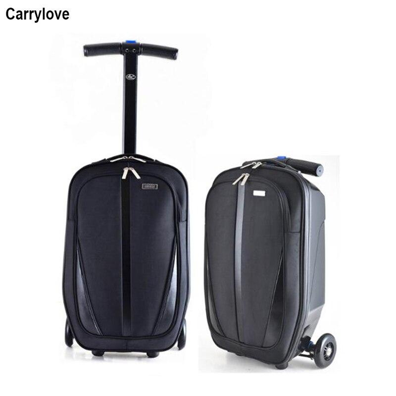 Carrylove skateboard reistas reizen scooter koffer tiener cabine trolley bagage op wiel-in Rij bagage van Bagage & Tassen op  Groep 1