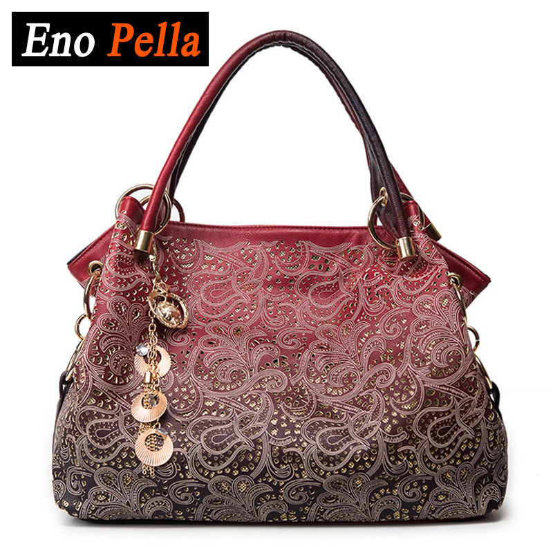 EnoPella brand ladies pu leather tote bag women bag hollow out ombre handbag shoulder bags enopella thread casual pu leather women