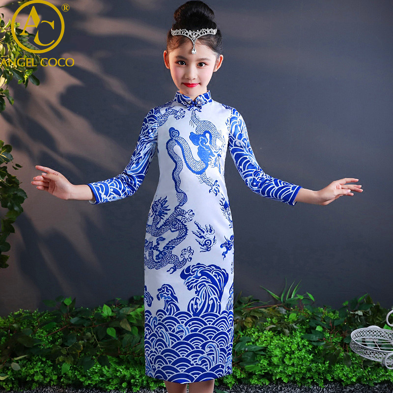 Girls Cheongsam Winter Thick Children Oriental Style Teenagers Long-Sleeved Chinese Dress Party Qipao Costumes Great Gatsby Gown girls dress winter 2016 new children clothing girls long sleeved dress 2 piece knitted dress kids tutu dress for girls costumes