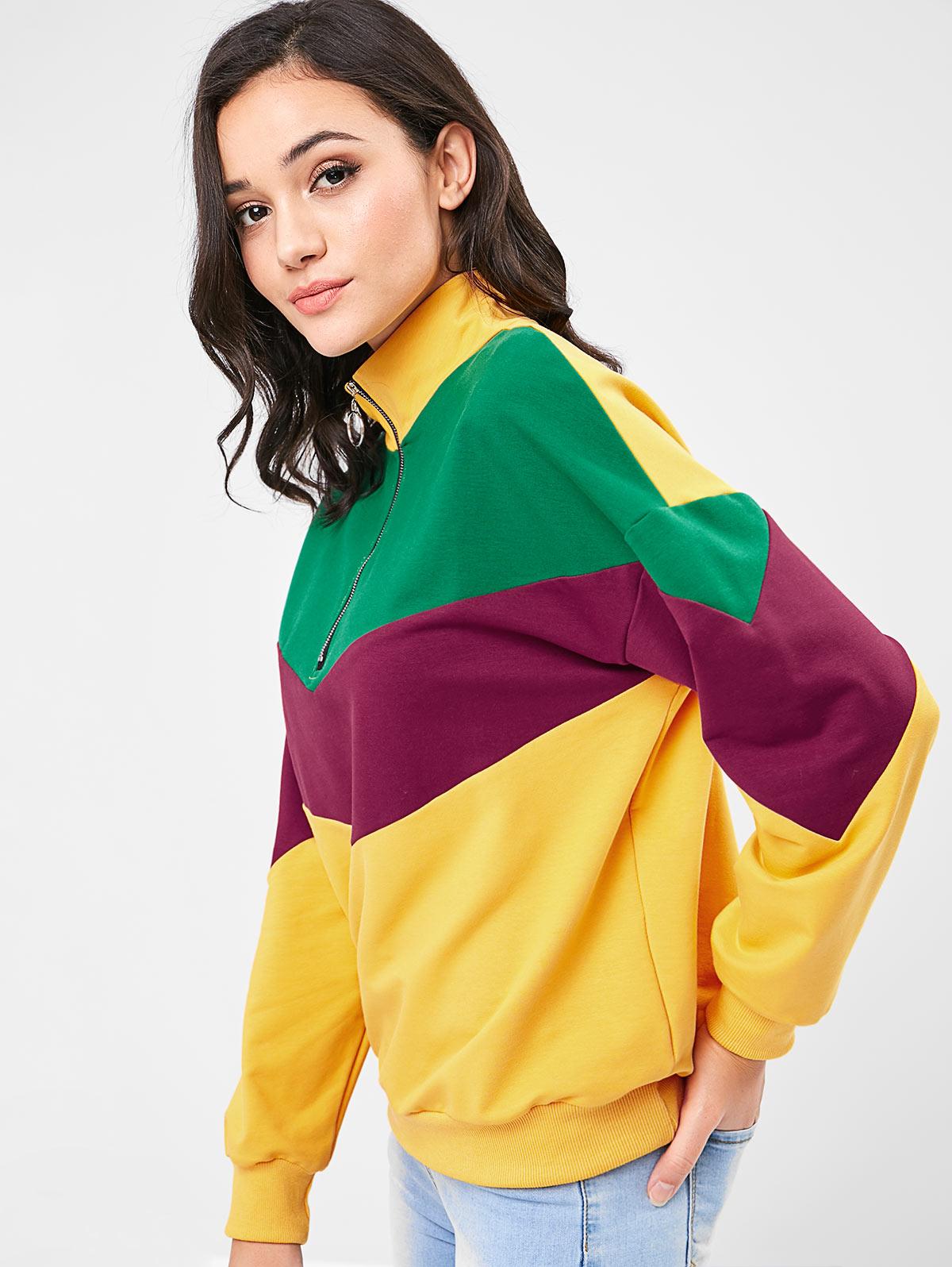6de6bcd57 Wipalo Contrasting Half Zip Sweatshirt Women Winter Autumn High Neck Drop  Shoulder Color Block Casual Loose Women Hoodies Top-in Hoodies & Sweatshirts  from ...