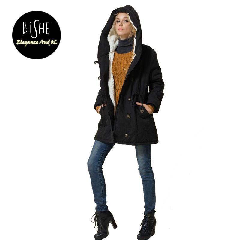 BiSHE New Casual Winter Women Parkas Thick Warm Clothing Cotton Hooded Coats With Velvet Manteau Femme Hiver L XL XXL 3XL 4XL jj airsoft acog style 4x32 scope with docter mini red dot light sensor black free shipping