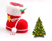 Christmas Supplies Plastic Flocking Boots Shape Design Candy Bag Kids Xmas Gifts Bag Tree Ornament Decoration-3 Size