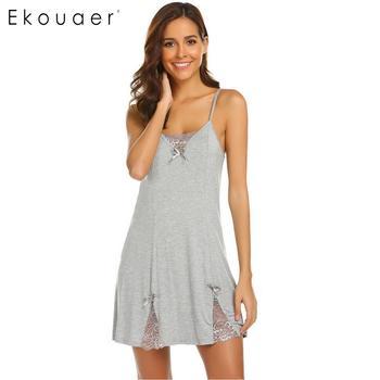 b7ebd0ee96fb453 Ekouaer Для женщин сексуальное женское белье Ночные сорочки Ночная рубашка  Кружева лоскутное лук галстук Регулируемая бретельках Женская ноч.