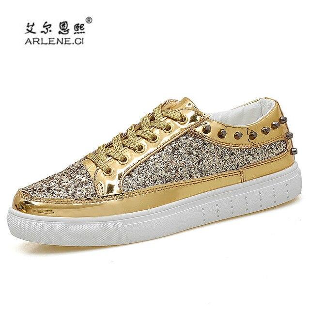 2018 Men s Skateboarding Shoes Glitter Rivets Sneakers Men Women Outdoor  Sports Shoes Shiny Classic Metal Head Skate Shoes Cheap 60aa0d49b636