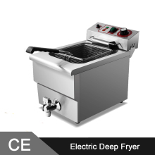 14L Unique Design Stainless Steel Deep Fat Fryer with Valve Tap and Lid