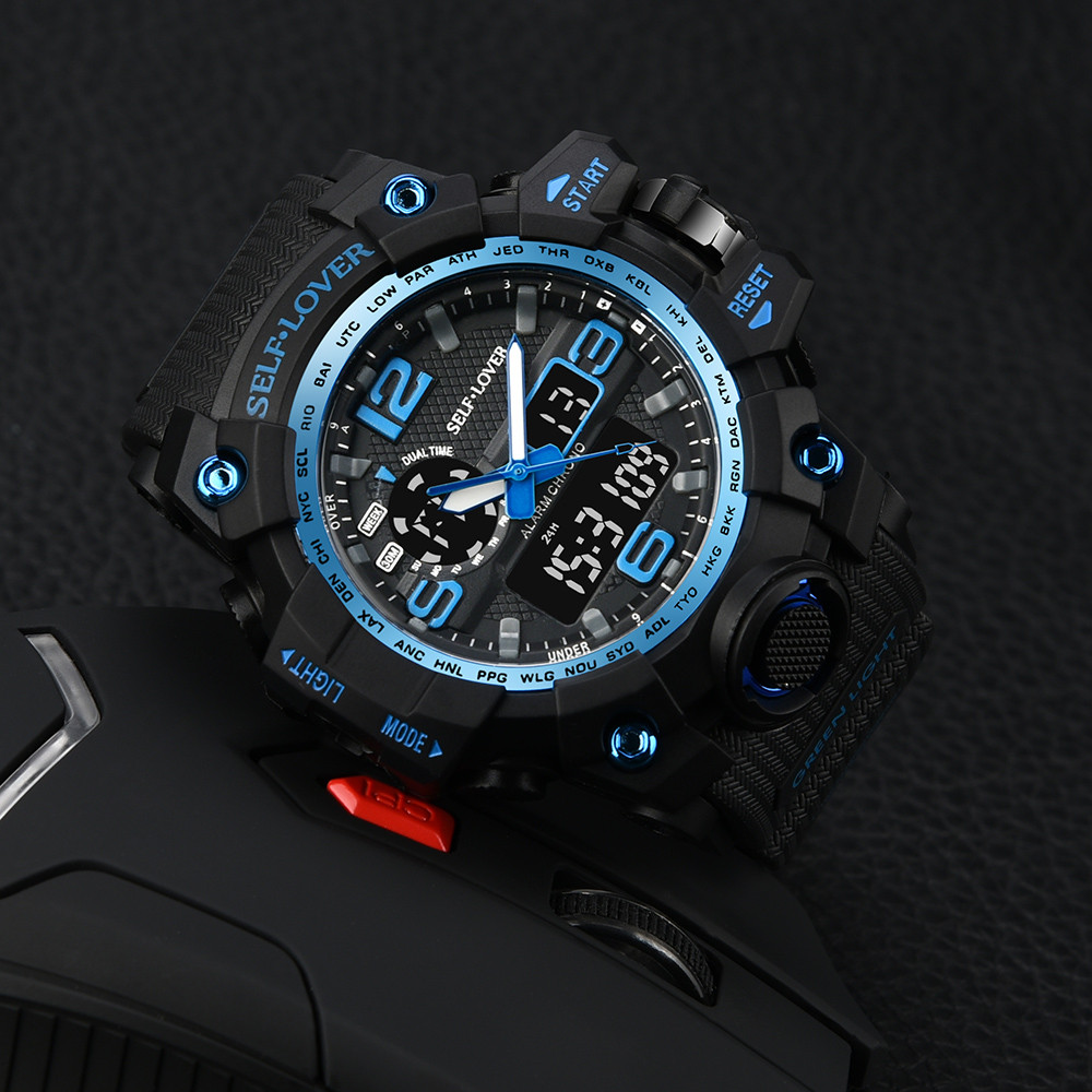 GEMIXIMen's watches Quartz Digital Sport waterproof Watch Dual Display Analog Digital LED Electronic Wrist Watches Dropshipping все цены