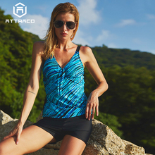 Attraco Women Tankini Set Two Piece Swimwear Vintage Floral Printed Tie Front Swimsuit Bikini Bathing Suit