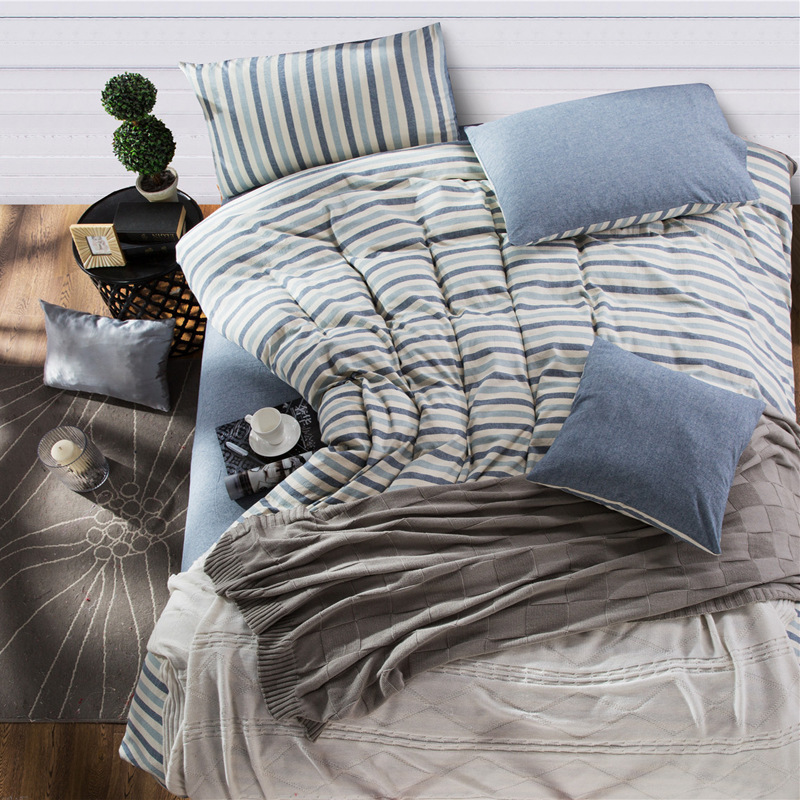 Ikea Striped Cotton Bedding Sets of Duvet Cover Fitted Sheet Pillowcase  King Queen Full Twin Size Bed Cover Designer Bedding. Bedding Ikea Promotion Shop for Promotional Bedding Ikea on