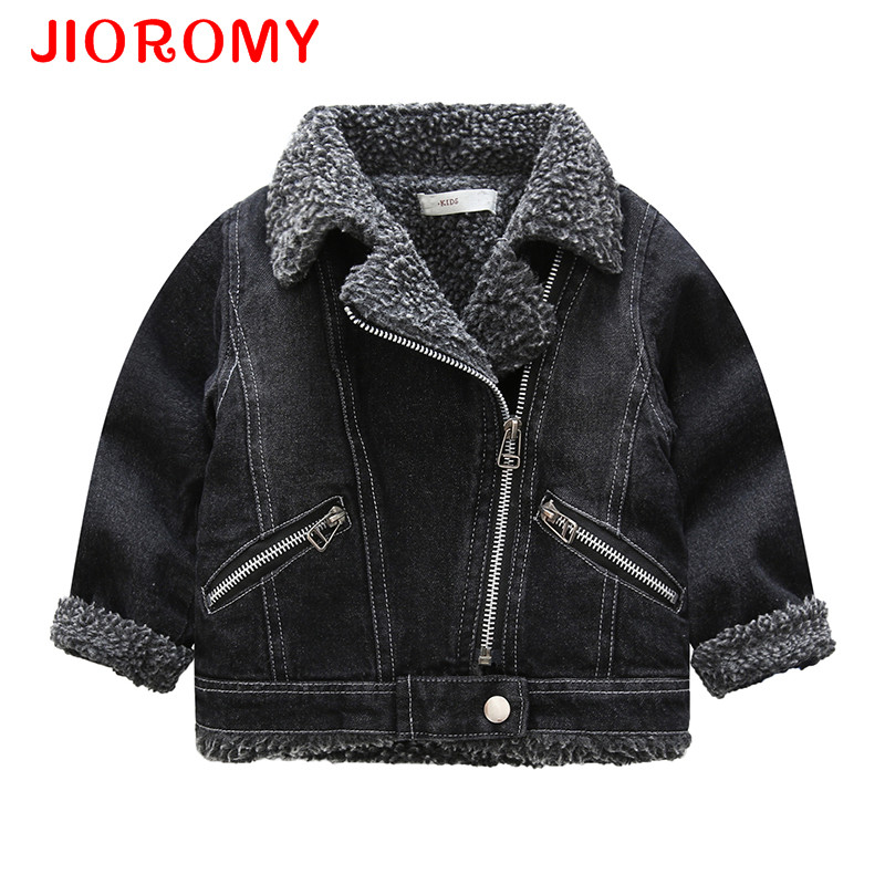 JIOROMY Boys Coat 2017 Cashmere Denim Jacket Autumn Winter New Children Lamb Wool Long Sleeve Turn-down Collar Zipper Jacket k1 winter autumn women wool cotton fur coat jacket female turn down collar double buttons warm thicken coat long lamb outwear