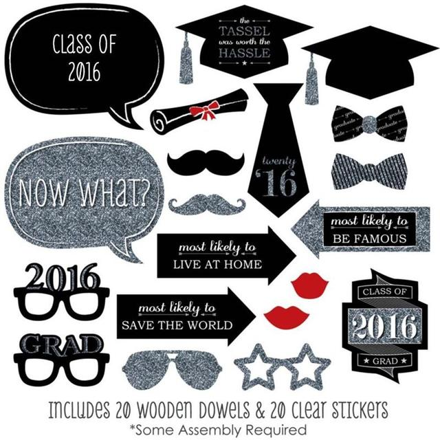 20pcs diy mortar board glasses moustache red lips bow ties on sticks