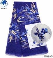 Beautifical Последние 3d Африканские кружева 2018 объемный цветок синий кружева свадебное синего цвета в африканском стиле кружевная ткань бисер г