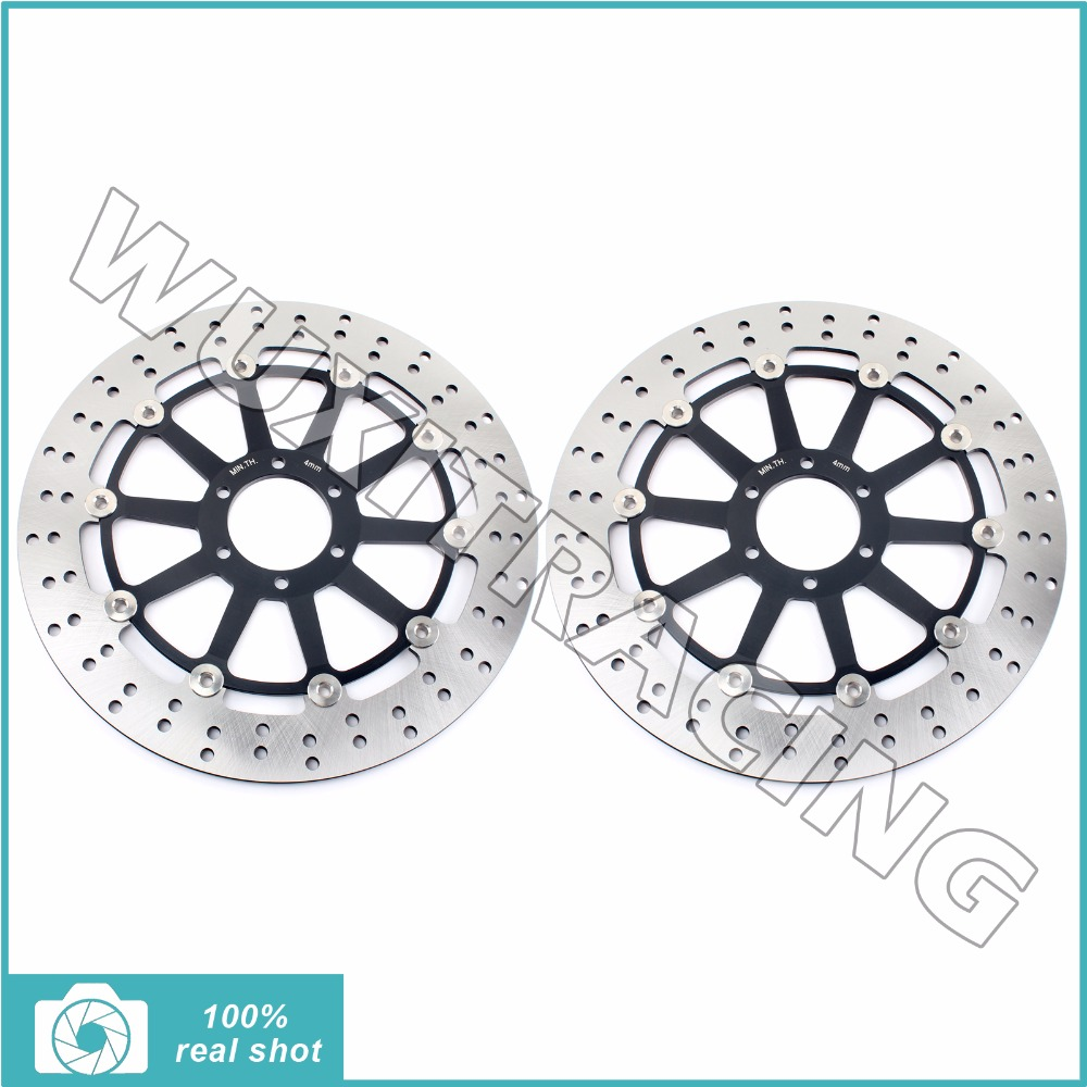 1Pair Round Front Brake Discs Rotors for APRILIA DORSODURO 750 1200 FACTORY 08-16 SL SHIVER 750 GT 07-16 MANA 850 GT ABS 07-16 cnc billet adjustable folding brake clutch levers for aprilia dorsoduro 750 factory shiver gt 750 07 14 08 09 10 11 12 2013