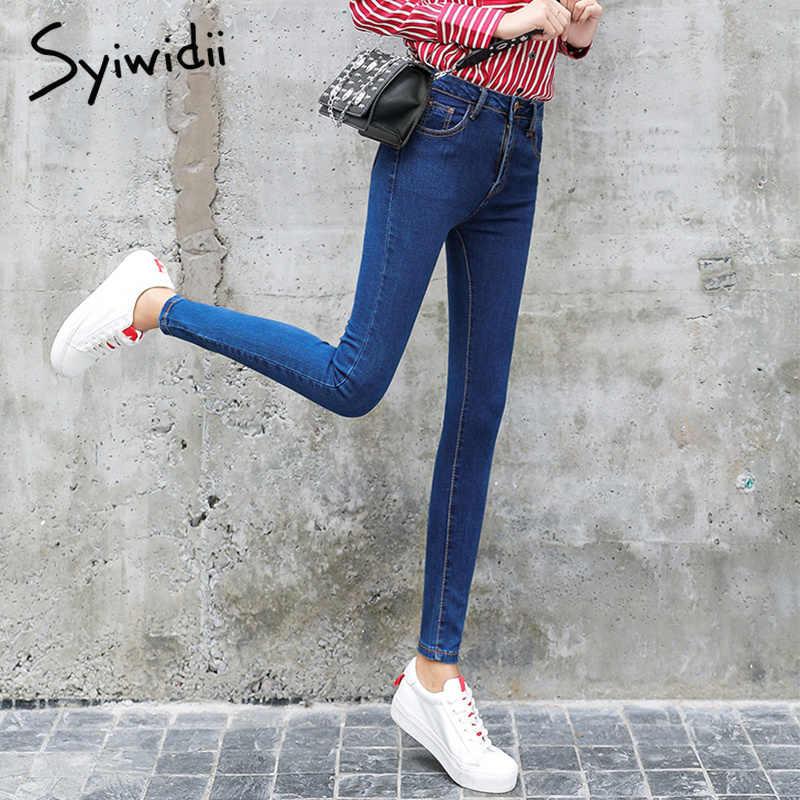 Женские джинсы с высокой талией мама джинсы плюс размер полная длина женские узкие джинсы Mujer с карманом узкие брюки Модные узкие брюки