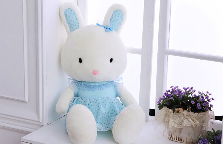 Stuffed animal 70cm cute rabbit pink or blue  beautiful skirt rabbit plush toy throw pillow soft doll gift w3381 rabbit plush keychain cute simulation rabbit animal fur doll plush toy kids birthday gift doll keychain bag decorations stuffed