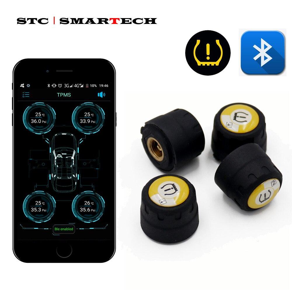 SMARTECH sensor de pressão dos pneus TPMS externo Bluetooth 4.0 universal suporte IOS Android phone, sensor de pressão dos pneus Fácil Instalar