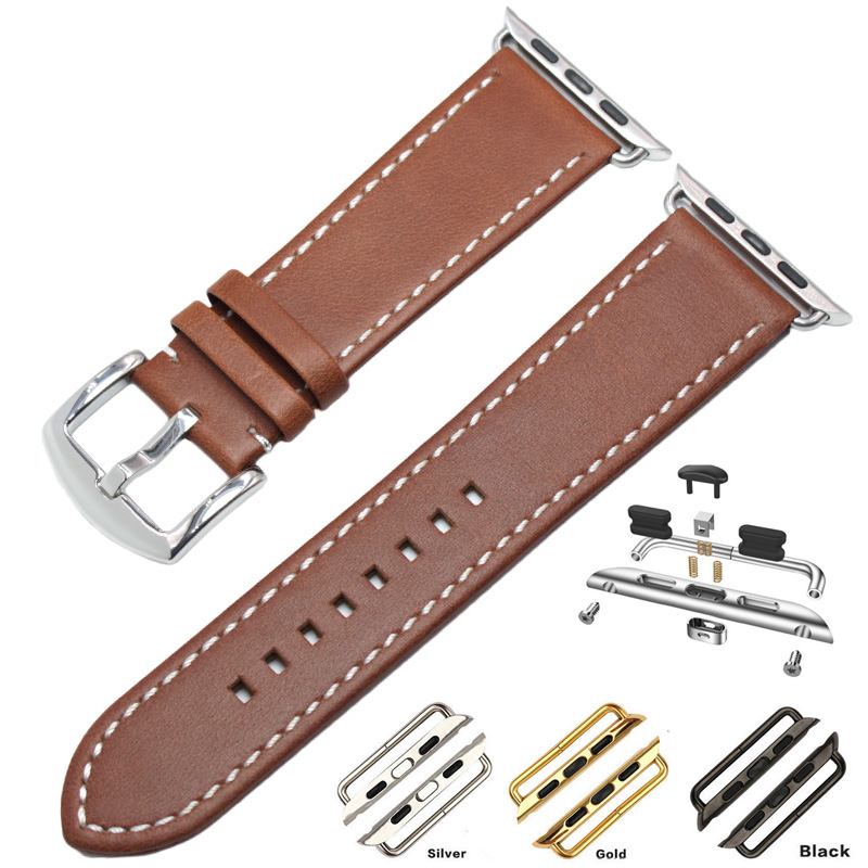 Genuine Leather Watchband Bracelet For Apple Watch Band 42mm 38mm For Iwatch Brown Adapter Link Strap Accessories istrap black brown red france genuine calf leather single tour bracelet watch strap for iwatch apple watch band 38mm 42mm