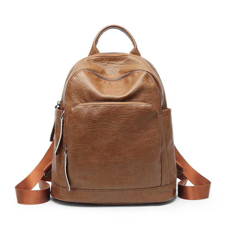 Shoulder bag, women's Korean version 2018 new style fashion Mommy bag leisure casual women's bag soft leather backpack qiaobao 2018 new leather backpack cowhide shoulder bag fashion korean version of the wave backpack simple fashion bag