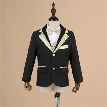 High quality boy suit + suit jacket + pants + shirt + bow tie + belt flower boy wedding suit children formal party suit,