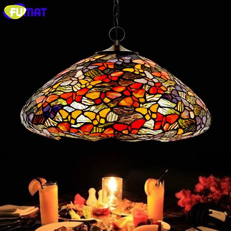 FUMAT vitrail suspension lampe Art papillon verre abat-jour lampes salon chambre Multi couleur intérieur lampe pendentif LED lumières