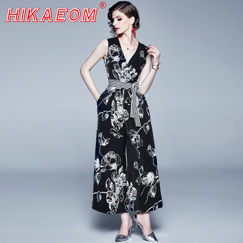Female Wide Leg Jumpsuit Coveralls Playsuit Female Frock High Waist Fashion Sleeveless Jumpsuits Sexy Lady Bodysuit Long Romper
