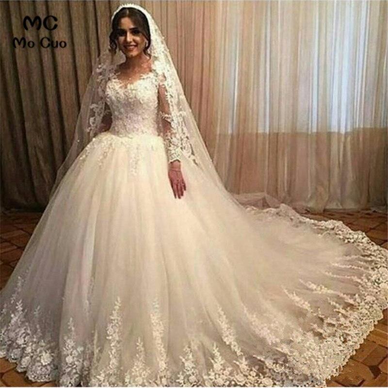 82d09d1828 Vestido de bola 2019 manga larga vestidos de novia vestidos de boda de tul  encaje tren