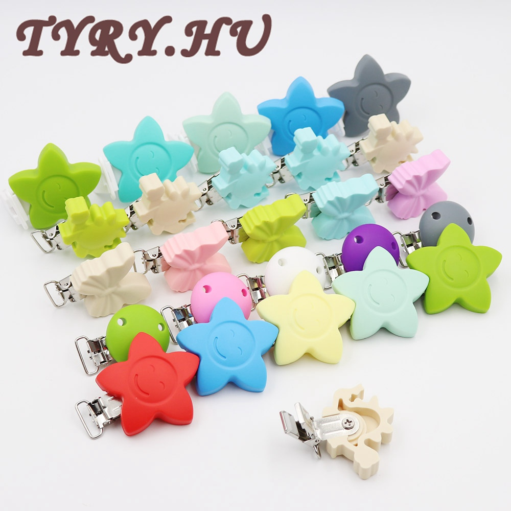 TYRY.HU 5pcs Silicone Chewable Baby Pacifier კლიპები Star Flower Butterfly Dinosaur Metal Clips Soother Clips for Baby კბილების საჩუქრები