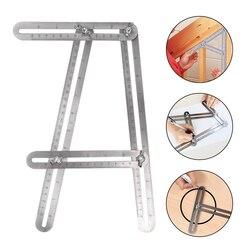Aço inoxidável dobrável multi ângulo régua ajustável instrumento de medição modelo ferramenta de quatro lados para artesãos carpintaria