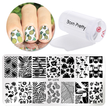 BORN PRETTY Lace Flowers Patterns Nail Art Templates Steel Plate Transparent Stamp Nail Stamping Plates Sets Kits Scraper
