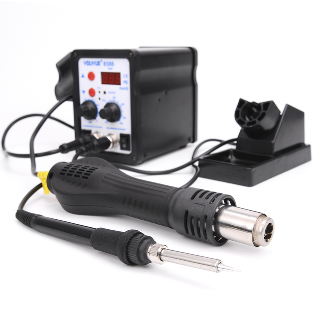 8586 2 In 1 ESD Hot Air Gun Soldering Station Welding Solder Iron For IC SMD Desoldering+Heating core+Tin wire+ 6pcs nozzles 1