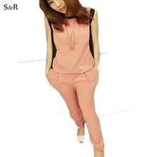 New 2015 Summer Chiffon Fashion Sport Suit Women Elegant Color Block Decoration Comfortable Pants Casual Clothing Set