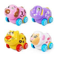 Children Toy Car Cartoon Model Inertia Animal Clockwork Pull Back Baby Puzzle Gift Style Random Delivery
