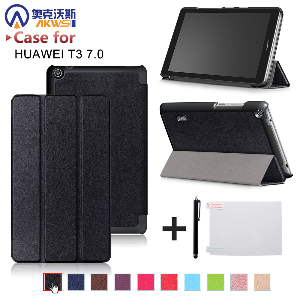 PU leather cover case for Huawei MediaPad T3 7.0 BG2-W09 tablet for Honor Play Pad 2 7.0 protective cover skin +free gift folio slim cover case for huawei mediapad t3 7 0 bg2 w09 tablet for honor play pad 2 7 0 protective cover skin free gift