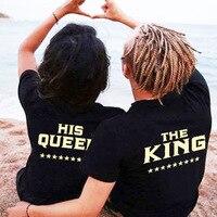 2019 Плюс XXXL Размер Lovers The King His queen футболка в стиле Харадзюку С буквенным принтом сзади Женская пара хипстерская футболка Топы